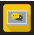 Speech bubbles on laptop icon flat style vector image