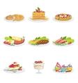 European Cuisine Food Assortment Menu Items vector image