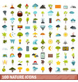 100 nature icons set flat style vector image