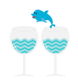 Cocktail drink glasses and jumping dolphin Isolate vector image vector image