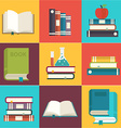 Book set search and reading flat color long shadow vector image