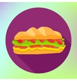 Sandwich flat fast food icon vector image