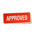 approved red square sticker isolated on white vector image