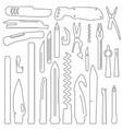 set of multifunction knife elements pocket knife vector image