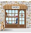 shoes shop building facade of stone vector image