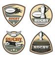 vintage colored rugby emblems set vector image