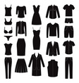 set of women and man clothes icons vector image