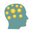 money in head flat business concept vector image vector image