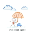 insurance agent is holding an umbrella over the vector image vector image