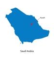 Detailed map of Saudi Arabia and capital city vector image
