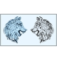 Graphic decorative wolves in black and blue colors vector image