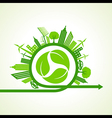 Eco city concept with recycle icon of leaf stock v vector image