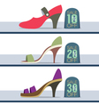 Colorful High Heel Shoes On Sale vector image
