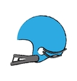 drawing blue american football helmet sport vector image