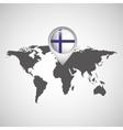 finland flag pin map design vector image
