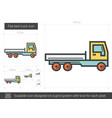 flat bed truck line icon vector image