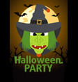 halloween party banner with witch vector image
