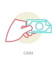 hand holding a banknote vector image