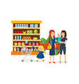 people at grocery store purchased merchandise vector image