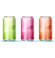 three aluminum cans with bubbles on labels vector image