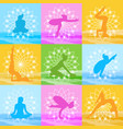 yoga poses set woman silhouette over beautiful vector image