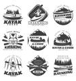 Kayaking Tour Labels Set vector image