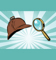 detective hat and magnifying glass vector image