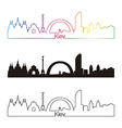 Kiev skyline linear style with rainbow vector image