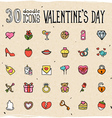 30 Colorful Doodle Valentines Day Icons vector image vector image