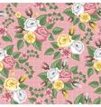 retro flower seamless pattern roses vector image
