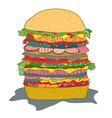 Hamburger with salad funny cartoon vector image