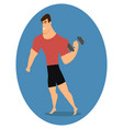 athlete strong man character holding dumbbell vector image