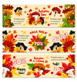 autumn sale discount fall banners set vector image