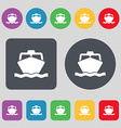 boat icon sign A set of 12 colored buttons Flat vector image