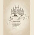 milan city landmark travel italy engraved sign vector image