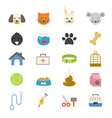 Pet Flat Icons color vector image