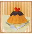 cake for Valentines Day a knife and scapula vector image vector image