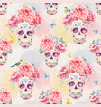 watercolor skull seamless pattern vector image