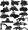 Building and Farm Equipments detailed silhouette vector image