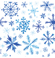 Seamless Winter Background - Snowflakes Watercolor vector image