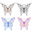 Set butterflies ornamental style vector image