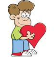 Cartoon Boy Holding a Heart vector image