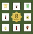 flat icon beverage set of carbonated soda bottle vector image