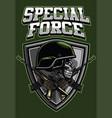 military skull wearing helmet and crossing rifles vector image
