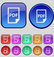 PDF Icon sign A set of twelve vintage buttons for vector image