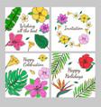 colored floral decorative invitation cards set vector image