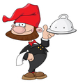 waiter gnome with tray vector image