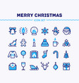 big set of linear christmas and new year icons vector image