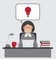 business woman have an idea for startup with vector image