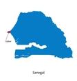 Detailed map of Senegal and capital city Dakar vector image